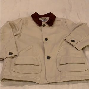 Tan jacket with brown suede collar